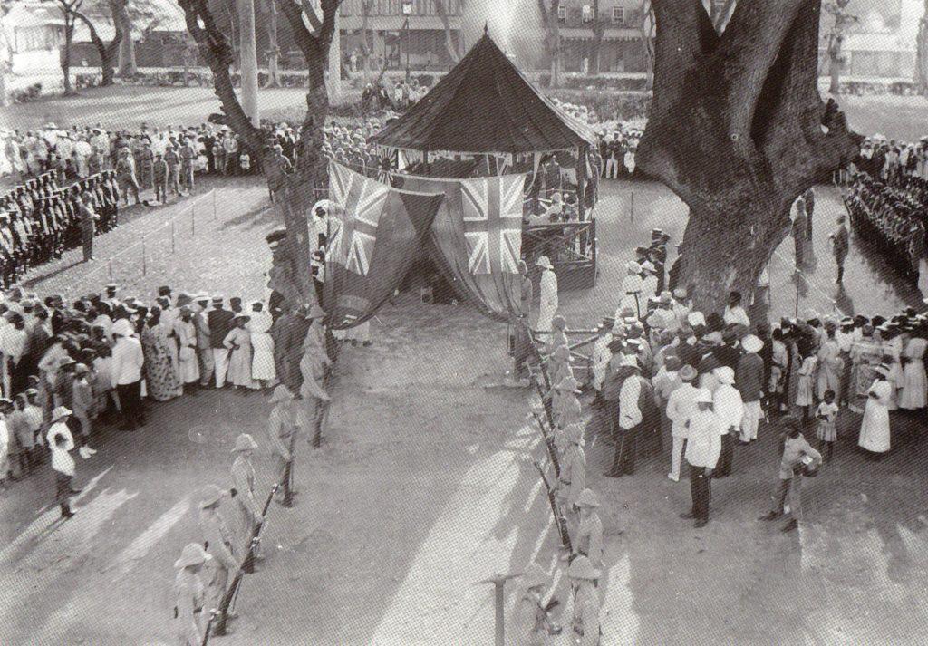 Columbus Square 1914 St. Lucia recruitment meeting.