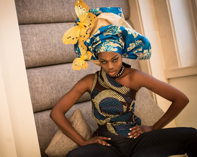CG Couture, Gele, afrocentric, Ankara fabric, gelina blouse, Huckleberry high waist, denim jeans, Sottu,