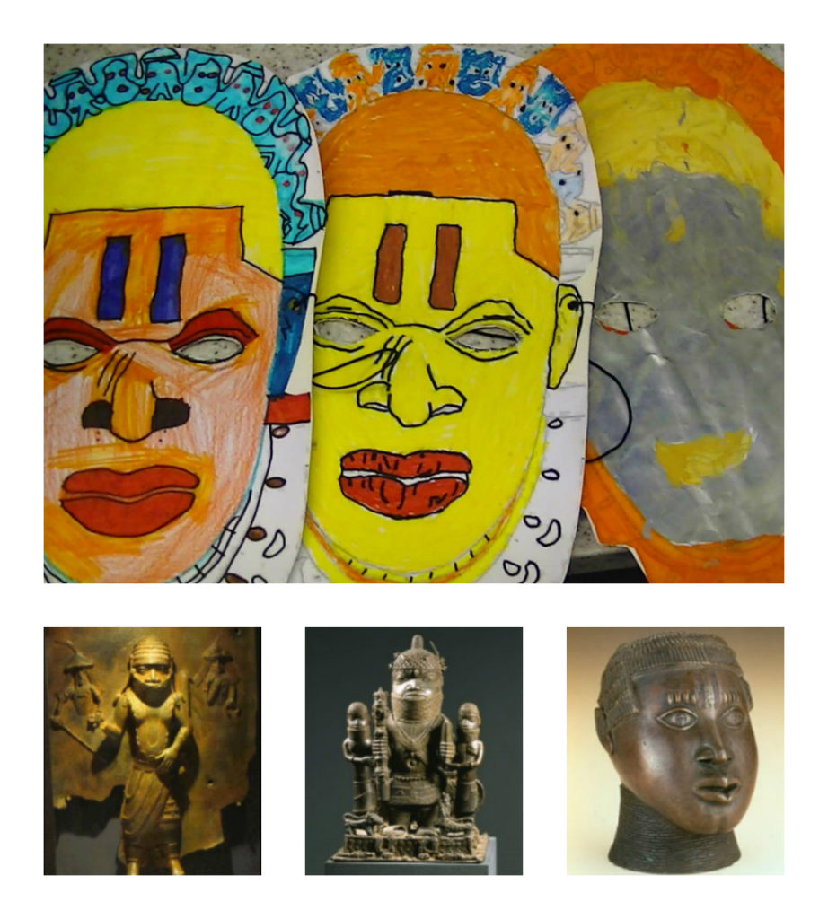 Collage from the children learning on the Benin British Heritage Project