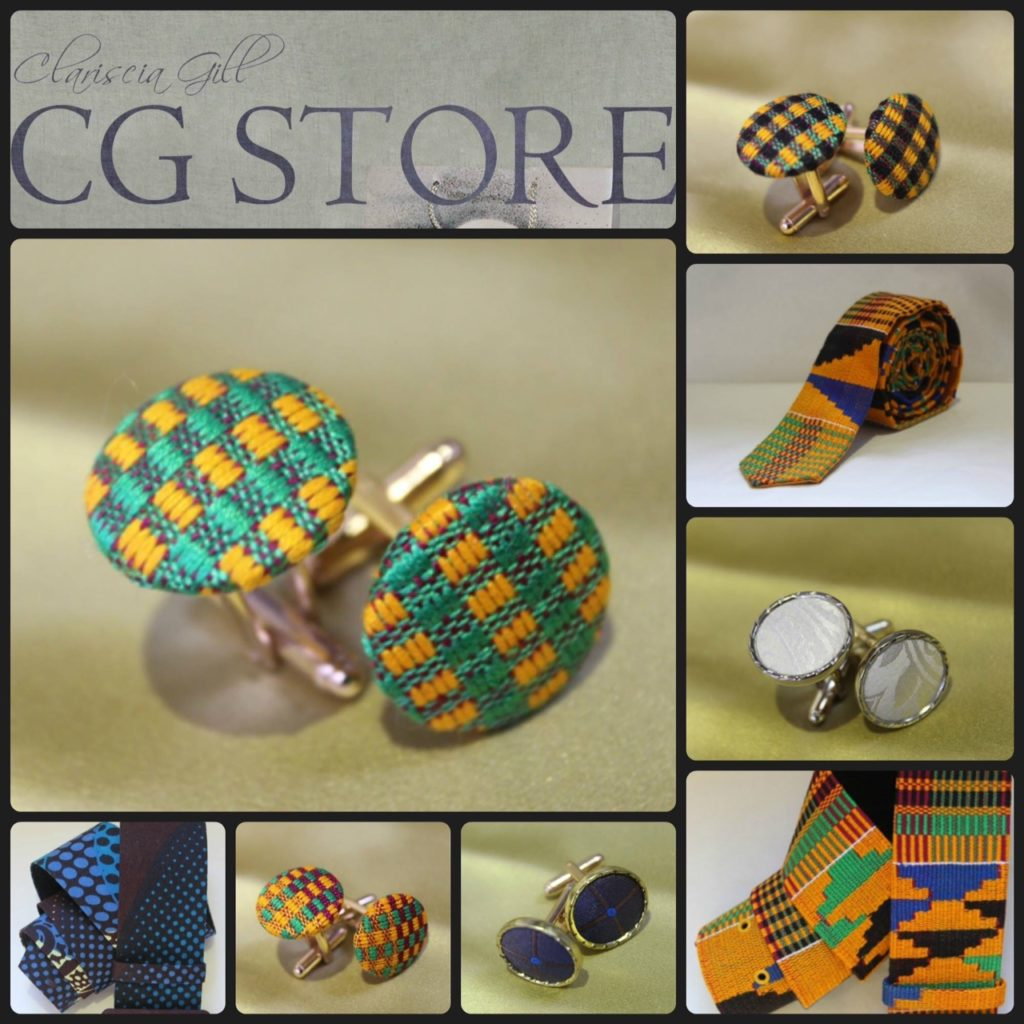 Cufflinks and ties show the designer's versatility